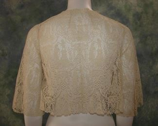 Amazing Italian lace bolero, we think this older lace was reworked in the 1930s to create this garment