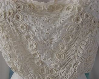 Edwardian Irish Crochet and open whitework and embroidered shirt/crop top/blouse
