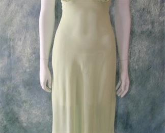 Lovely 1930s mint green crepe bias cut lingerie or gown with asymmetrical hem