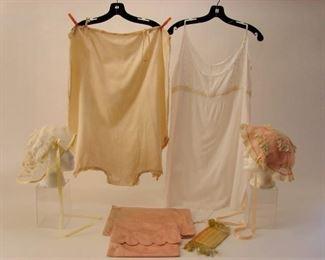 Vintage 1920s lot of lingerie including 2 step-ins, 2 boudoir caps, lingerie bags