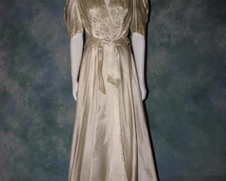 1930s gold silk robe or dressing / powder gown