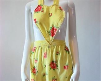 Darling 1930s or 1940s vintage rayon apron with heart shaped bodice