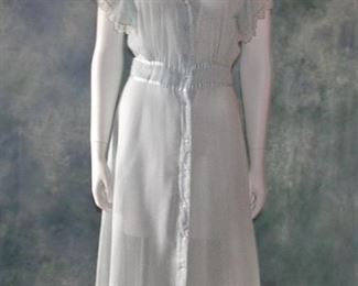 1930s long blue and white floral printed romantic day dress
