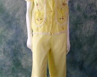 Fabulous 1950s rayon Asian lounging pajamas