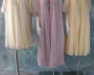 "three ""Chiffon"" vintage nightgown and peignoir sets"