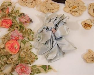 one of multiple antique millinery lots  - silk ribbon work etc