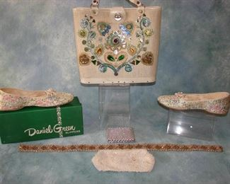 Vintage deadstock Daniel Green lame slippers with box, Enid Collins STYLE jeweled handbag, jeweled belt, small purse accessories