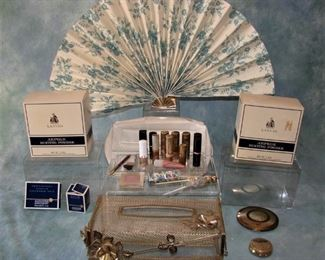Vintage 1970s ladies vanity boudoir set including Lanvin Powders (2 - Deadstock), lipsticks, other makeups