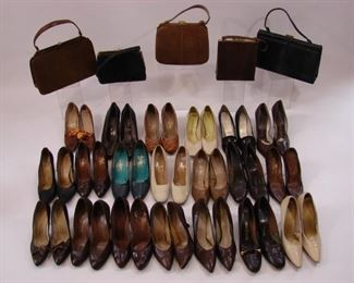 Large lot of leather or reptile shoes and handbags