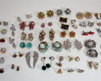 LARGE lot of vintage clip on earrings, mostly rhinestones, costume jewelry