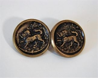 Darling Antique brass picture buttons with dog in the woods carrying a letter in his mouth while a man watches from underneath a tree in the background