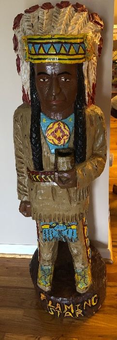 Folk Art Carved Wood Indian (over 40 years old) Came from NC mountains Signed MJG