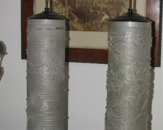 Wall paper cylinder lamps