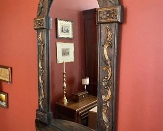 """Lot 3: $75- Arched mirror with small shelf 42""""H x 24""""W purchased at Gump's years ago"""