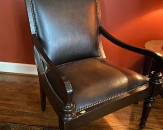 "Lot 1: $250-Leather armchair 42""H x 28-1/2""W x 27""D"
