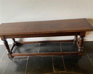 "Lot 4: $150- Dark oak bench 4' X 1' X 18"" H"
