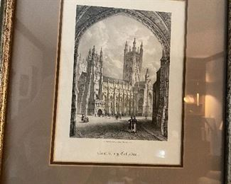 """Lot: 31: $65- Canterbury Cathedral etching 10"""" x 7-1/2"""" inside mat"""