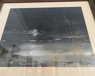 """Lot 40: $145- Bad picture of a lovely watercolor of the beach at night 29-1/2"""" x 35"""" framed, will upgrade photo asap"""