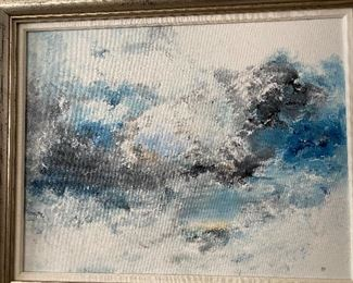 Lot 41: $25- Small painting of surf by B.A.Porter
