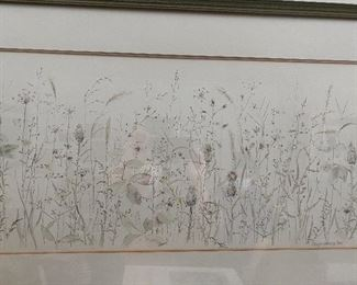 """Lot 43: $75- Flower painting approx. 2""""L"""