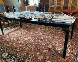 """Lot 21: $250- Davis Cabinet Ebony dining table #1555 with 2 leaves. 64""""L -96""""L (leaves are 16"""" each)"""