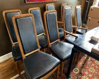 Lot 22: $600- 8 Henredon dining chairs, 6 side chairs and 2 arm chairs. Oak frames and  upholstery, not leather