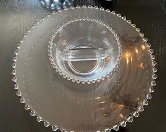 """Lot 65: $35- Candlewick platter and bowl 14-1/2"""""""