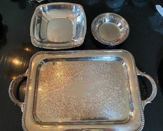 """Lot 66: $45- Lot of silver plated tray with handles S.F. Co. 15-1/2"""" x 11-1/2"""", Reed and Barton 1020 Shannon bowl 8-5/8"""", and Reed and Barton 6"""" round bowl"""