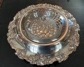 """Lot 68: $45- Large silver plated flower bowl and frog 13-1/2"""" marked 015"""