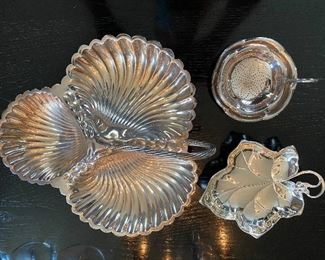"""Lot 69: $60- Lot of 3 handled silver plate dishes- tea strainer with under dish, leaf dish and large 3 part shell dish with handle and shell feet-10-1/2"""""""