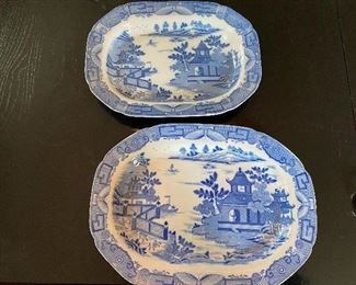 """Lot 73: $500- Pair of Davenport platters dated late 18th century. 16-1/4"""" x 12"""" and 14-1/2"""" x 10-7/8"""""""