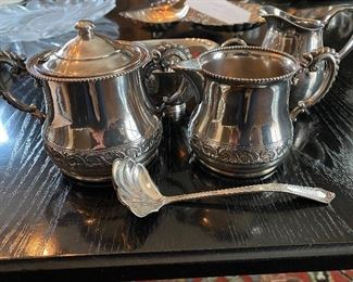 """Lot 71: $45- Lot of silver plated creamer and sugar marked """"W77"""" with sterling sugar shell, Reed & Barton s.p. creamer marked 965 and small s.p. pitcher marked Fisher K104"""