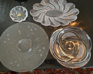 Lot 74: $45- Lot of 4 glass platters and bowls