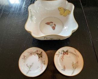 """Lot 76: $20-  Limoges butterfly bowl 7"""" Bernardaud & Co. and 2 unmarked butterfly butter pats"""