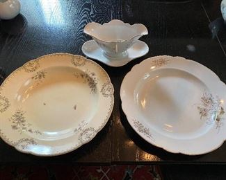 """Lot 79: $40- Hutschenreuther 2 large bowls 12-1/2"""" each and gravy boat"""