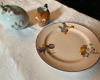 """Lot 80: $28- Lot of chicks on vase 3-3/4""""H, pumpkin pitcher 2-1/2""""H and nursery rhyme plate 7-1/4"""""""