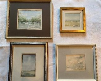 """Lot 51: $100- Lot of 4 small watercolor paintings by B.A.Porter  10"""" x 9"""", 5-3/4"""" square, 8-3/4"""" x 8"""", 9-3/4"""" x 8"""""""