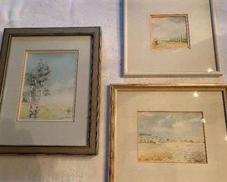 "Lot 55: $85- 3 watercolors-German landscapes-11""x9"", 10""x8-1/2"", 8-1/2""x8-1/2"""