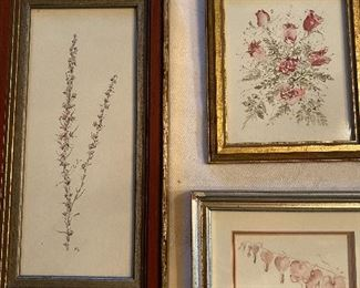 "Lot 56: $75- 3 floral watercolors-10""x5-1/4"", 5-1/2""x 4-3/4"", 5-3/4""x4-3/4"""