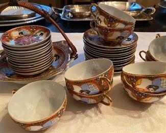 Lot 78: $45- Kutani tea set-36 pieces, cups, saucers, small bowls, larger handled dish and 2 vases