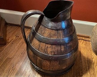 """Lot 88: $245- Antique French wooden wine jug cask 15""""H x 11""""W"""