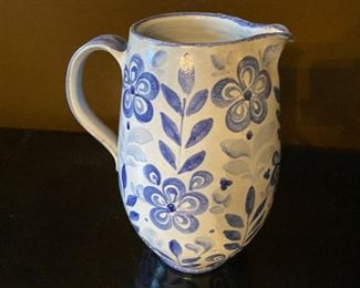 """Lot 91: $25-Blue and white pitcher 9-3/4""""H"""