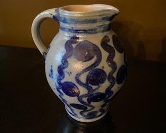 "Lot 92: $35- Salt glazed pitcher 7""H"