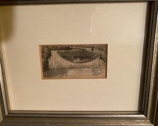 """Lot 57: $20- Tiny painting of a bridge. Image is 1""""x2-1/4"""""""
