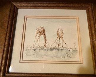 "Lot 49: $25- Giraffe watercolor 6-1/4"" x 6"""