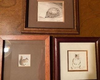 """Lot 58: $45- 3 tiny watercolors of animals-images are 1""""x1"""", 2""""x2"""" and 2-1/2""""x2"""""""