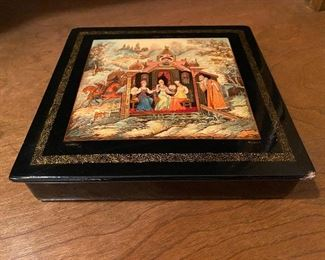 """Lot 98: $45- Russian lacquer box, signed approx. 6-1/2"""" square"""