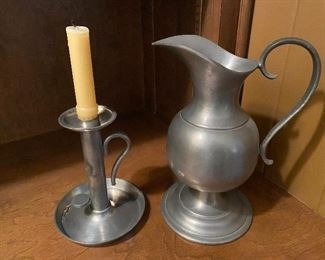 """Lot 100: $60- Pewter candlestick 6-1/2"""" and Pitcher 10"""""""