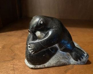 """Lot 104: $35- Soapstone figure from Canada 3-1/2""""H x 4-1/2""""L"""