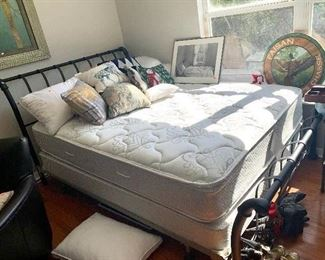 Wrought iron sleigh bed and the Original Mattress Factory orthopedic ultra plush mattress and box spring.